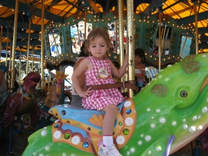 This little one couldn't get enough of the carousels.