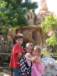 Big Thunder Mountain was a big hit with the older kids. (No, I don't know why he's doing that.)