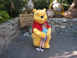 It's the biggest Teddy Bear ever! And it hugs back! She had no fear of the characters at all.